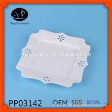 elegant ceramic square plate, ceramic carve dinner plate,hollow ceramic plate