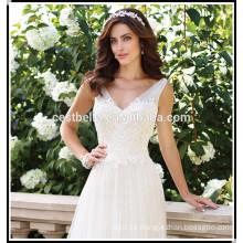 El mejor vestido de boda elegante 2017 alto cordón encaje perfecto corsé vestido de boda barato