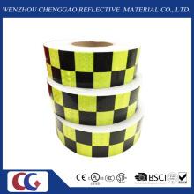 Fita de conspicuidade reflexiva de design de grade preto / verde (C3500-G)