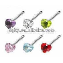 Fashion peach zircon unisex general stainless steel nose rings jewelry