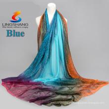 2015 nuevos llegan la bufanda de seda multicolora Corea de las bufandas de la gasa del terciopelo del bordado de la manera imprimió el cabo largo del mantón de la calidad de las bufandas