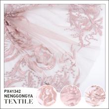 Изготовленный на заказ высокомарочный Логос модная вышитая полиэфиром ткань для новобрачных