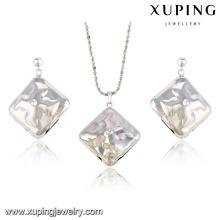 63841-Indian Silberfarbe Schmuck Quadrat Stein Diamant Schmucksets