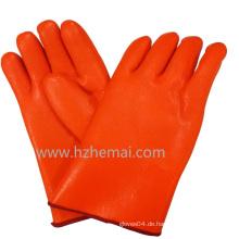 Stulpenhose Hi-Vis Orange PVC Handschuhe Doppelt getaucht Industrie Arbeitshandschuh