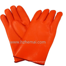 Gauntlet Hi-Vis Orange PVC Gloves Double Dipped Industrial Work Glove