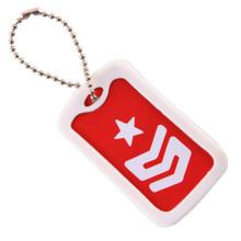 Tag de cão bonito do retângulo com Keychain
