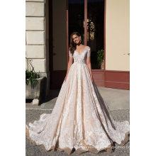 V Neck manga curta Lace Ball vestido de casamento Vestidos de noiva