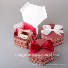 Boîte en carton en papier imprimé hexagonal pour gâteau aux pommes aux bonbons