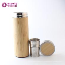 A prueba de fugas de ancho boca doble pared de bambú de acero inoxidable termo botella taza de té taza para llevar té de hoja suelta té