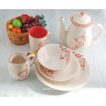 Juego de té de vajilla pintado a mano de gres