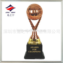 Trophée personnalisée de petit volleyball en bronze doré trophée en bronze