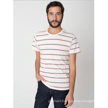 2014 China Manufacture Fashion Cheapest Round Neck Striped 100%Cotton Jersey Men′s T-Shirt