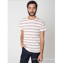 2014 China Manufatura Moda mais barato em torno do pescoço listrado 100% algodão Jersey Men's T-Shirt
