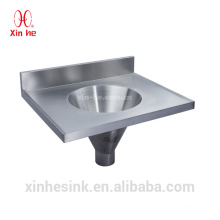 Stainless Steel infundibuliform funnel shaped slop hopper wall hung hand wash basin combined sluice sink for public use