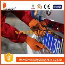 Orange Cotton Knitted Black DOT Glove Dkp133