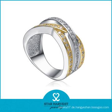 Großhandel kundengebundener CZ 925 silberner Schmucksache-Ring (SH-R0146)