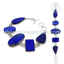 Efficacious lapis gemstone silver bracelet jewelry 925 sterling silver bracelets handmade jewellery wholesale supplier