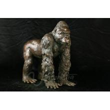 Sculpture de jardin en métal artisanat taille de la vie bronze gorille statues à vendre