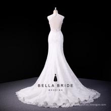 Taobao mais vendido vestido de casamento com contas de renda 2016