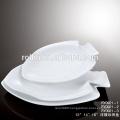 2016 hot sale hotel&restaurant rectangular white ceramic plates, Buffet used crockery plates, Fish Design porcelain
