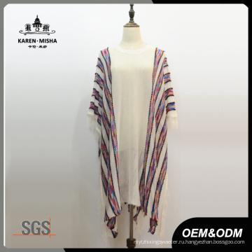 Женщины Мода Boho Трикотажные Рубашка В Полоску Бахрома Пончо