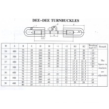 Dee-Dee Type Turnbuckles, Dimensions Data, Drawing