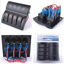 Impermeable Marine Boat Rocker Switch Panel 4 Gang LED luz