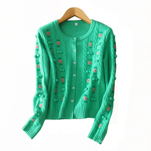 Women pure cashmere cardigan O neck long sleeves cardigan with embroidery valley decor