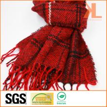 100% акриловый модный красный и черный проверенный сплетенный шарф с окантовкой