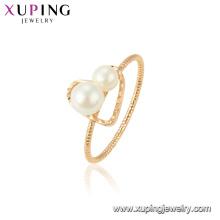 15439 xuping nuevo último anillo de oro diseña la perla de moda blanca para el partido para la joyería de las mujeres