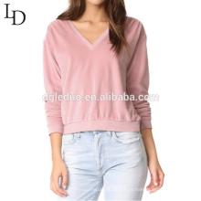 Venda quente de algodão com decote em v shirt manga comprida mulheres elegantes camisola