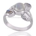 Export Qualität stilvolle natürliche Regenbogen Moonstone 925 Silber Ring