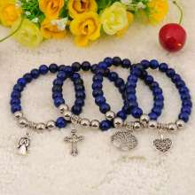 Natural Lapis Lazuli Bracelets Gemstone jewelry alloy pendants