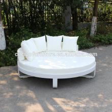 Cama redonda do pátio do quadro de alumínio exterior com coxim