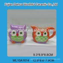 Venta al por mayor personalizada jarra de leche de cerámica y azucarero conjunto en forma de búho