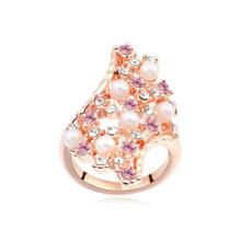 Moda estilo austríaco anéis de noivado de âmbar de cristal