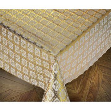 137cm PVC Gold Lace Tablecloths New Designs