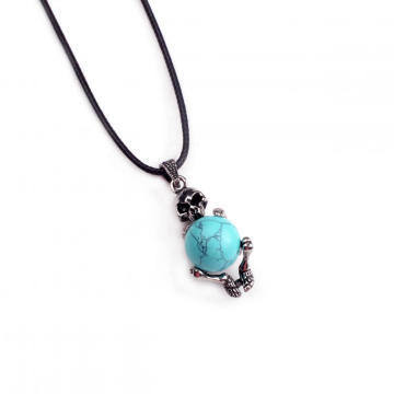 Natural Turquoise Ball Silver Alloy Skull Pendant