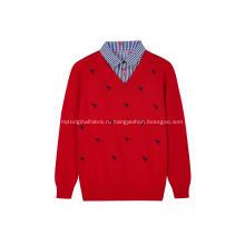 Вязаный пуловер с вышивкой фламинго и воротником-стойкой для мальчиков