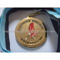 Gold Plated Medallion with Black and Blue Ribbon (Hz 1001 M086)