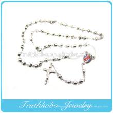 Meilleure vente de bijoux religieux pour 2014 en acier inoxydable Sainte Mère Maria religieuse Jésus Croix chapelet collier bijoux