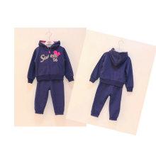 Fleece / Terry francés Gilr trajes deportivos en la ropa de los niños, desgaste de los niños (capa + pantalones del pullover de la cremallera)