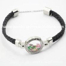 Top Sale Edelstahl Leder Leder Armband mit Locket