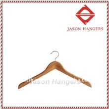 Slight curved body Bamboo jacket hanger with amber colour