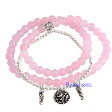 Natural Rose Quartz Beads Bracelet with Silver Charm (BRG0017)