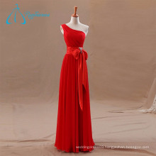 Chiffon Pleat Sashes Bow Red Bridesmaid Dress Wholesale