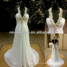 NW-393 Elegantes wulstiges Halter-Chiffon- Hochzeits-Kleid