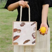 Wholesale Custom Printing Logo Ins Hot Sale Jute Food Bag Canvas Shopping Tote Beach Bag
