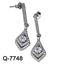 Silber Schmuck baumeln Ohrringe mit weißen CZ (Q-7748)