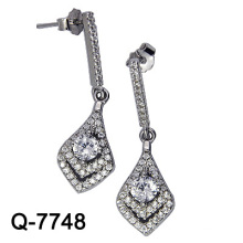 Silver Jewelry Dangle Earrings with White CZ (Q-7748)